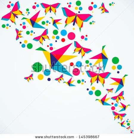 Spring Origami Butterfly And Birds Colorful Composition Vector Illustration Layered For Easy Manipulation Custom