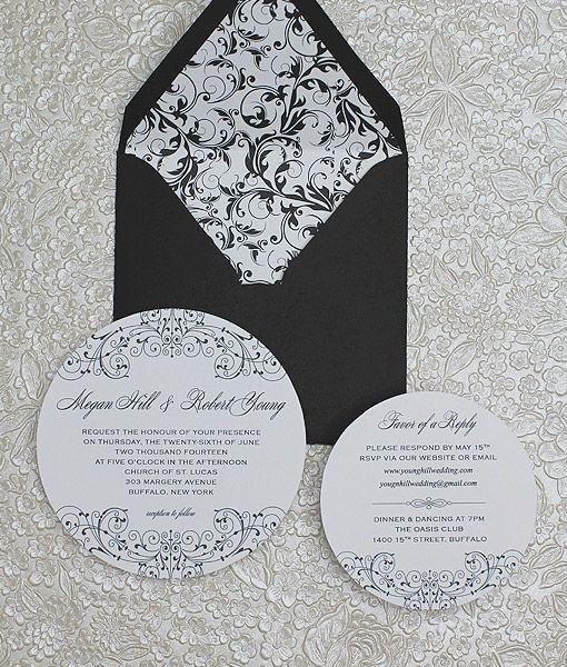 Diy Tutorial Black And White Round Wedding Invitation Set