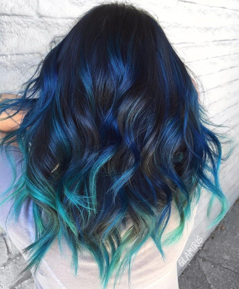 Gimme The Blues Bold Blue Highlight Hairstyles Blue Hair Highlights Black Hair With Highlights Hair Color For Black Hair