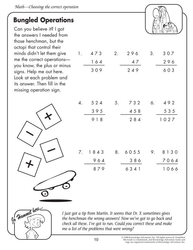 Martin Has Just Tipped Jo Off Can You Work Around Dr X S Tricks And Find Out The Correct Answers Kids Pract Math Worksheets Fifth Grade Math Math Printables