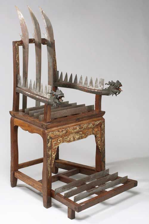 Torture chair. Wood with 12 steel blades, Chinese, 18th