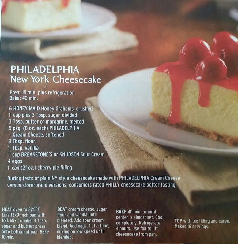Philadelphia Original New York Style Cheesecake New York Style Cheesecake Original Cheesecake Recipe Philadelphia Cheesecake