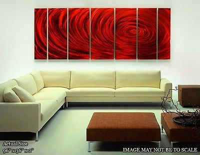 Huge Red Modern Contemporary Abstract Metal Wall Art Decor Painting ...