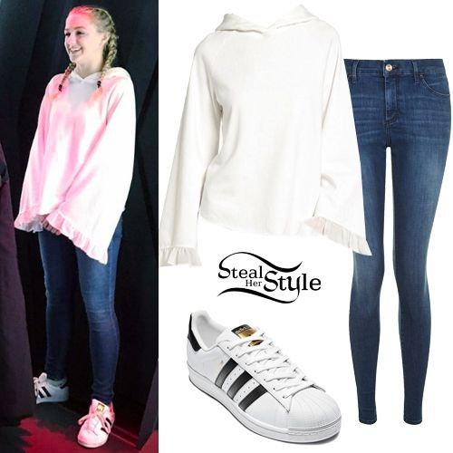 Chloe Lukasiak posted a picture on instagram yesterday wearing a Chelsea28  Ruffle Bell Sleeve Hoodie (