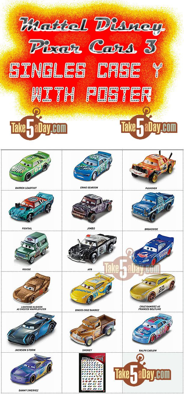 Mattel Disney Pixar Cars 3 Wave 2 Singles Case H Y With Poster