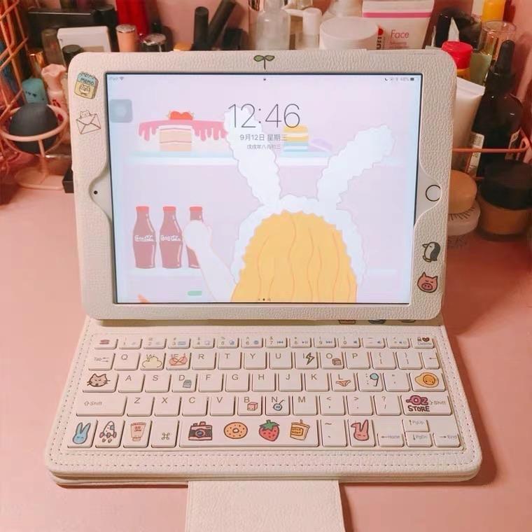 Updated ipad bluetooth keyboard + ipad case (white