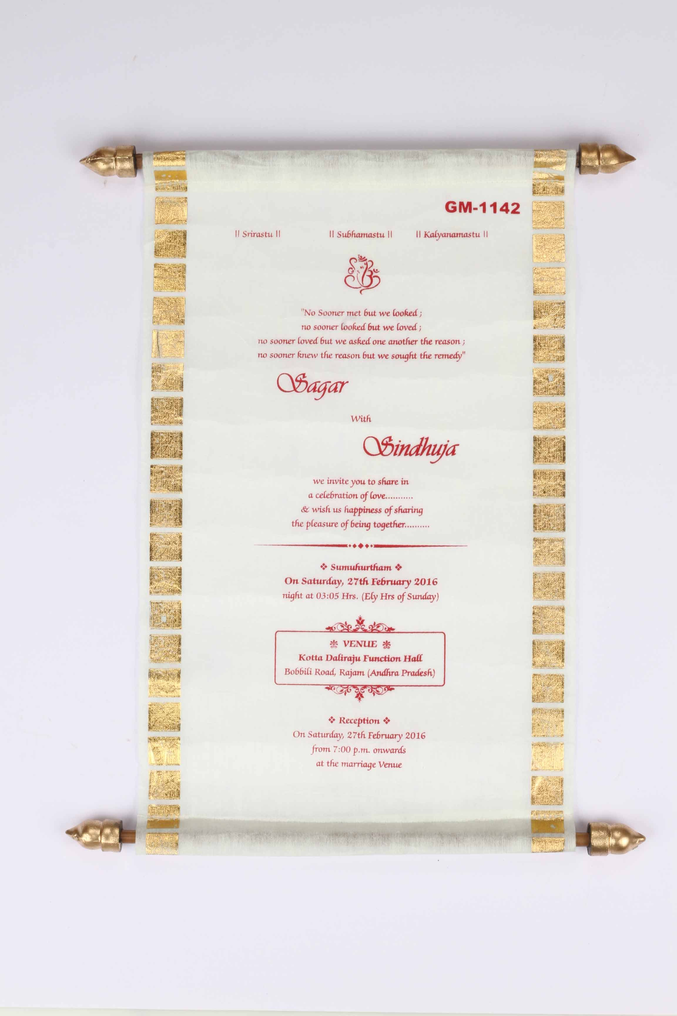 White Scroll with Shimmery translucent Wooly Paper | Scroll Wedding ...