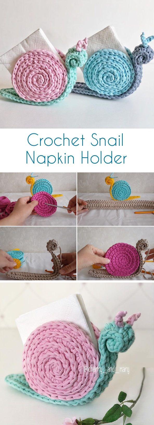 Crochet Snail Napkin Holder #diyyarnholder