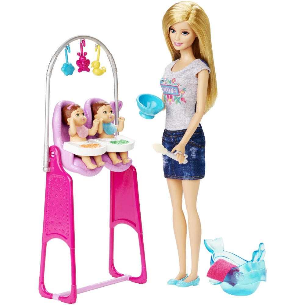 Barbie deluxe furniture stovetop to tabletop kitchen doll target - Barbie Careers Twins Babysitter Doll And Playset
