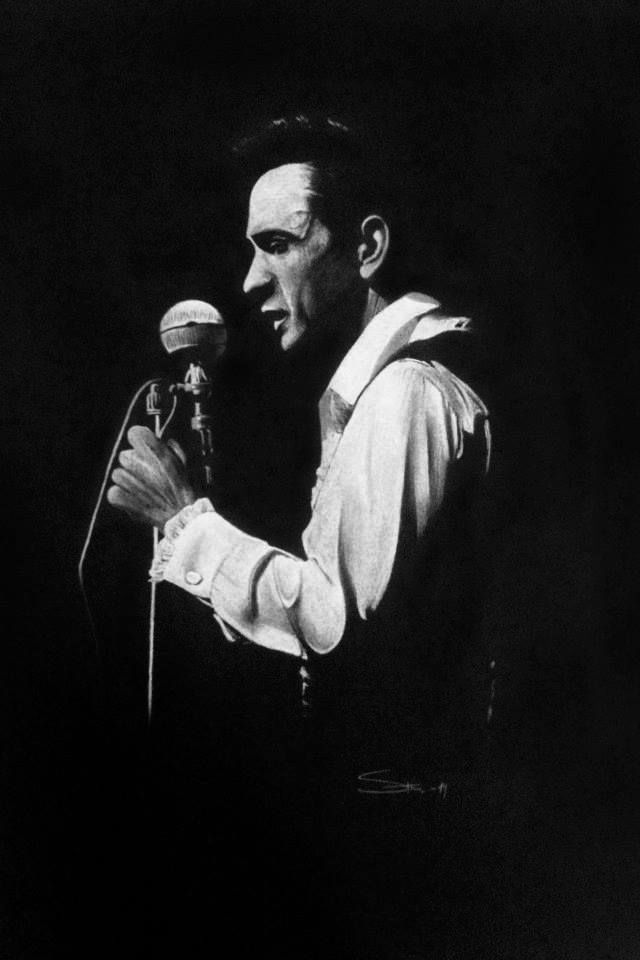 Johnny Cash. Drawing om black paper