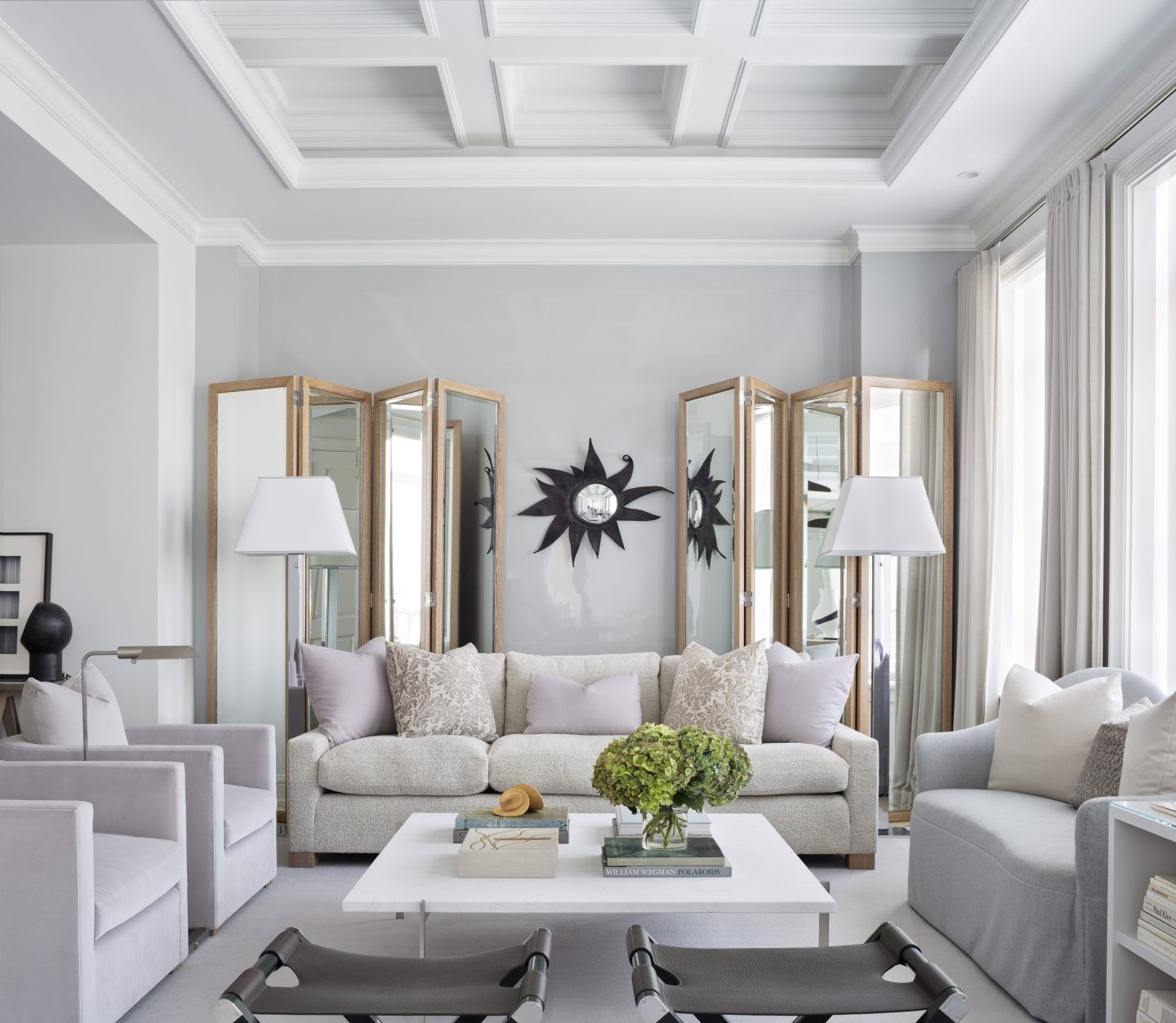 Luxury Living Room with Modern Floor Lamps in New York City   Living ...