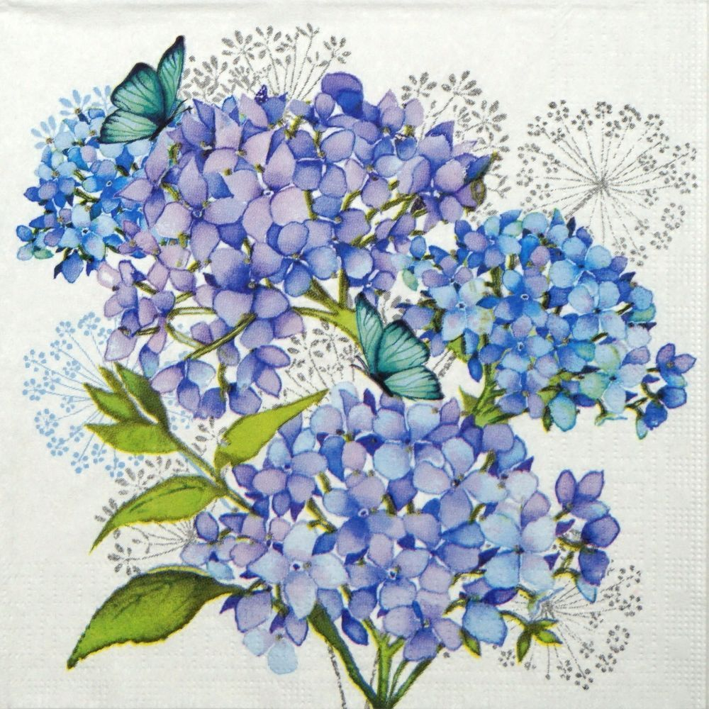 Details About 4x Paper Napkins Hydrangea Blue For Party