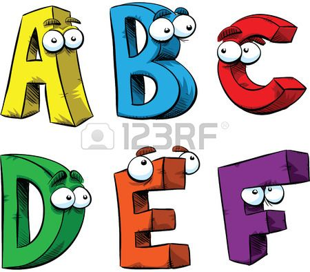 Letters A F Of The Alphabet As Friendly Cartoon Characters Alphabet Illustration Alphabet Lettering