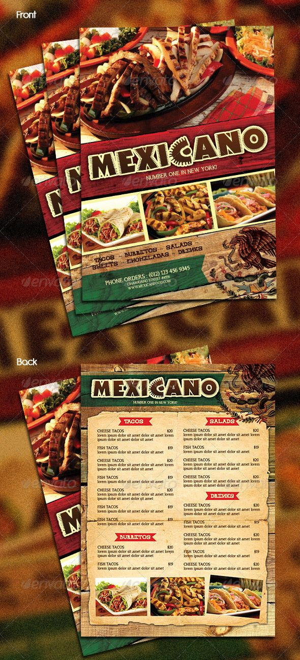 Mexican Food Menu  Food MenuFlyerPoster    Mexican