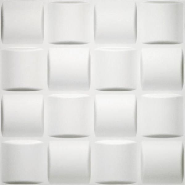 Decorative Wall Tile Selfstick Basket Weave Pattern 3D Decorative Wall Tile In White