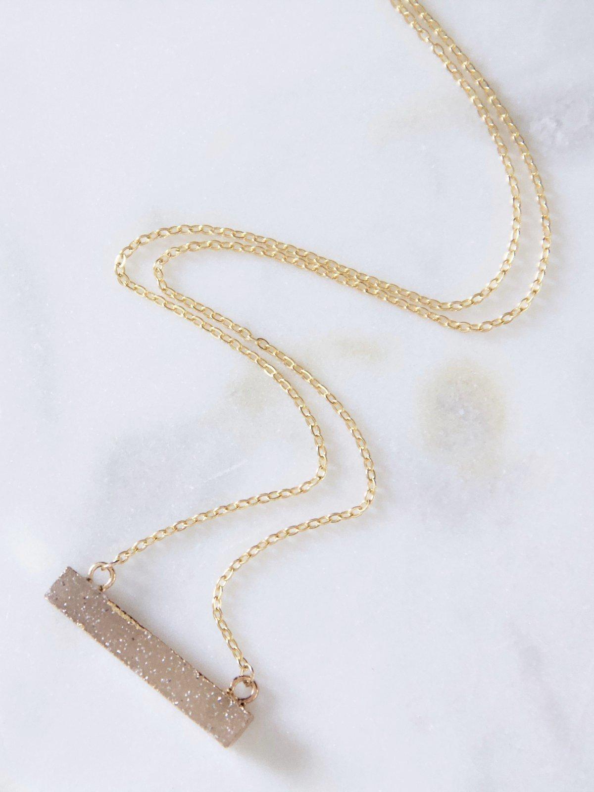 Druzy Mini Bar Necklace In 2019 Best Sustainably Dressed Wedding