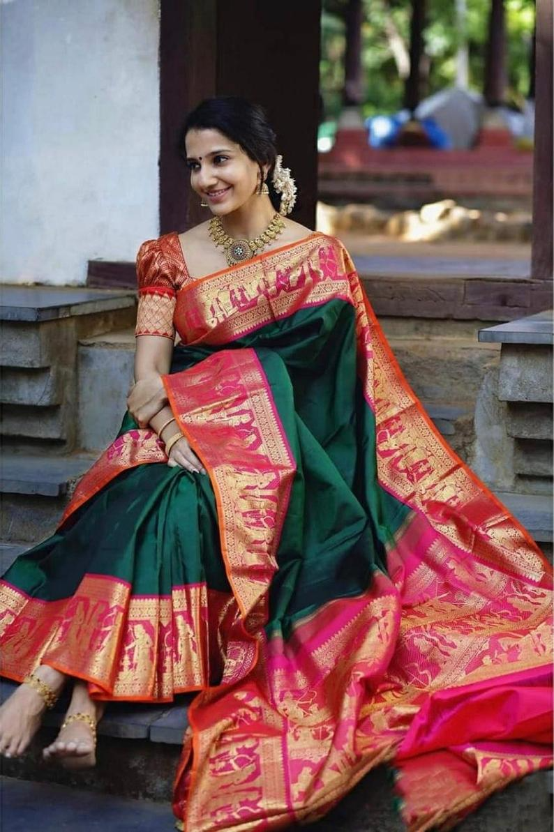New Arrival Green Colore Bold And Beautiful Saree Indian Traditional Saree Bollywood Style Exclusive Party Wear Kanchipuram Silk Saree