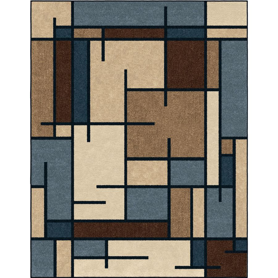 Allen + Roth Addington Liberty Blue Rectangular Indoor Machine Made  Southwestern Area Rug (Common