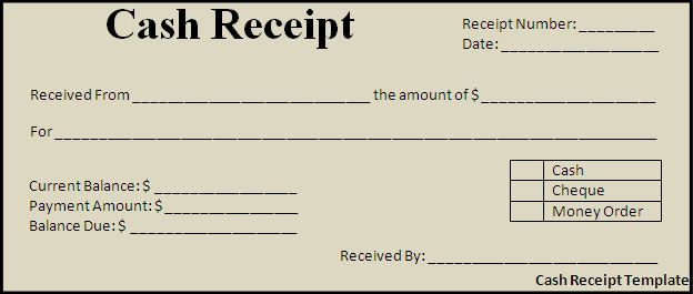 Cash Payment Receipt Template Free | Cash Receipt Template ...