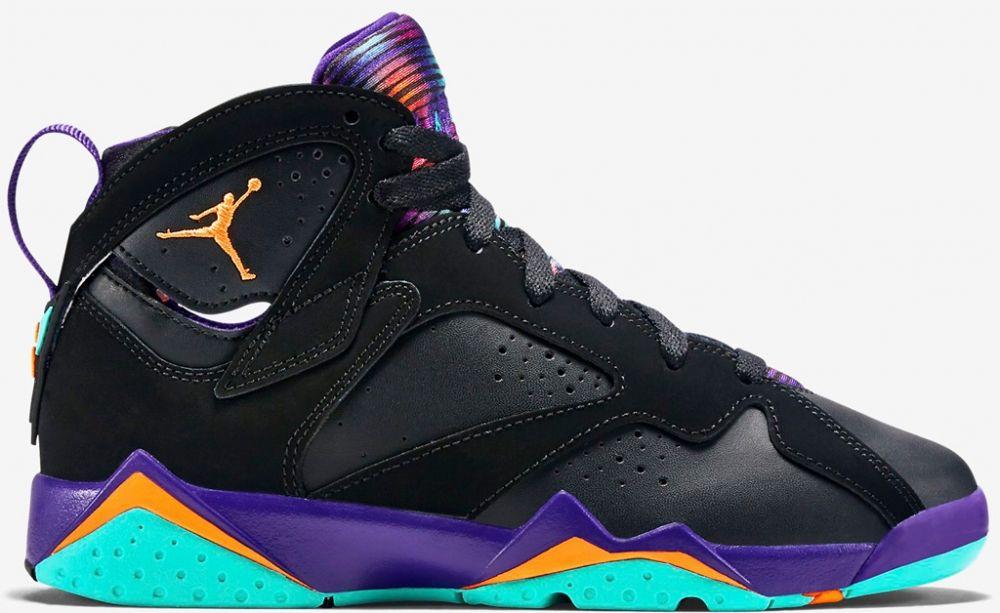 Black · Air Jordan 7 Retro Girls Black/Bright Citrus-Court Purple-Light  Retro