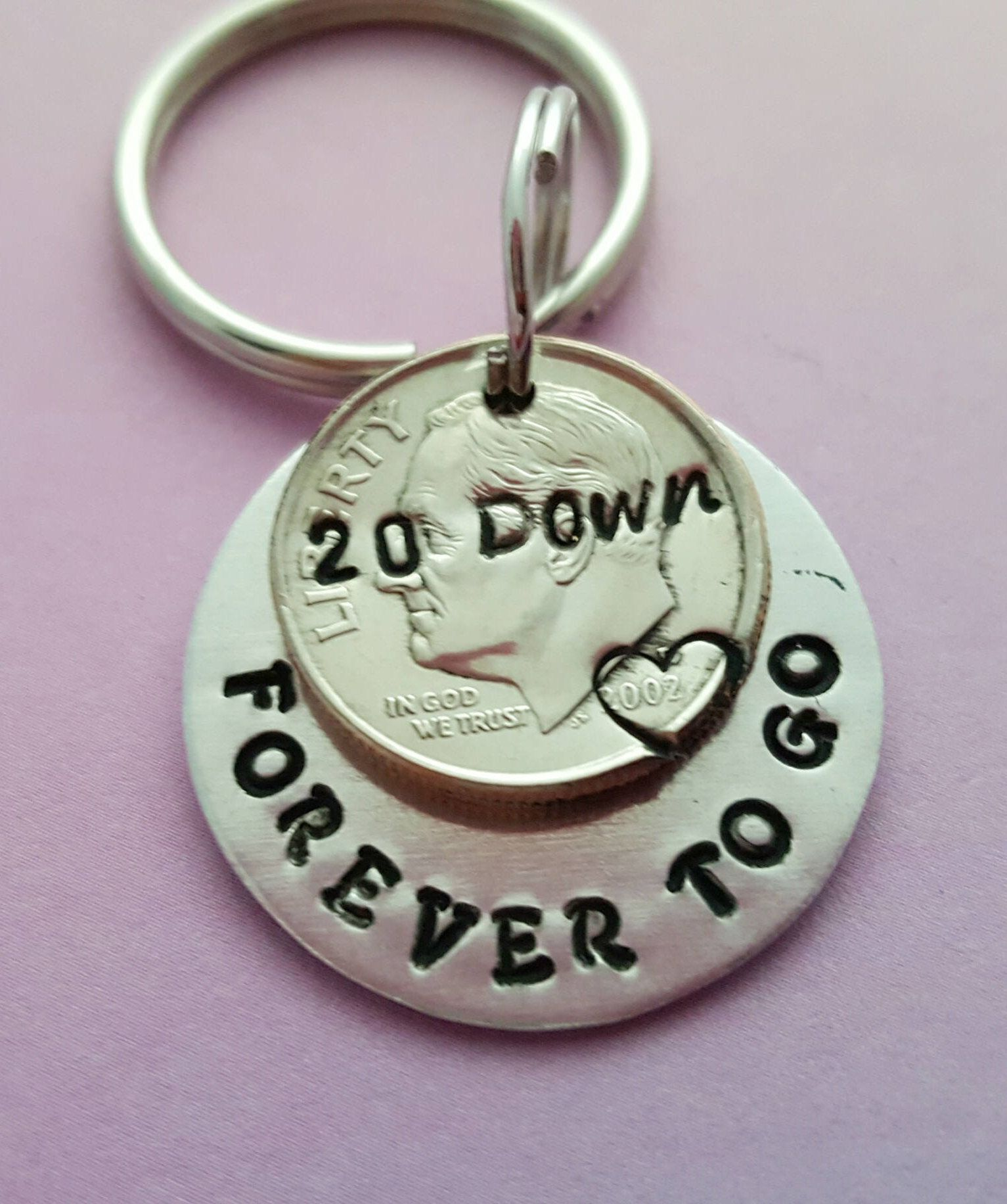 20th Anniversary Gift Idea 20 Year Wedding Anniversary Keychain