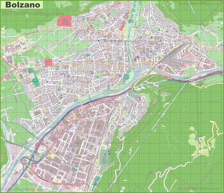 Large detailed map of Bolzano Maps Pinterest Italy and City