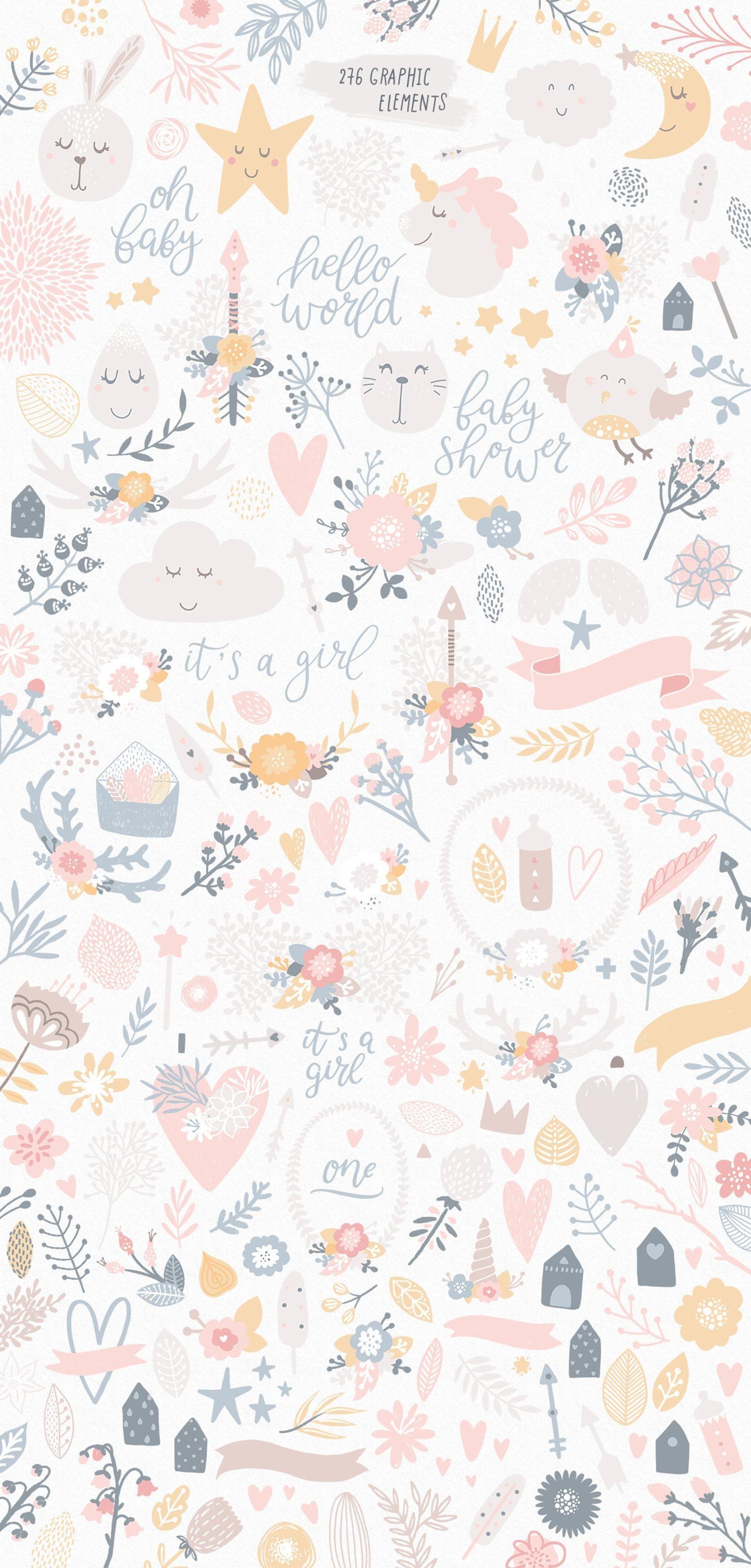 Unicorn clipart Baby girl patterns Nursery clip art Girl poster Baby shower cards It's a girl Digital paper flowers Alphabet Baby girl