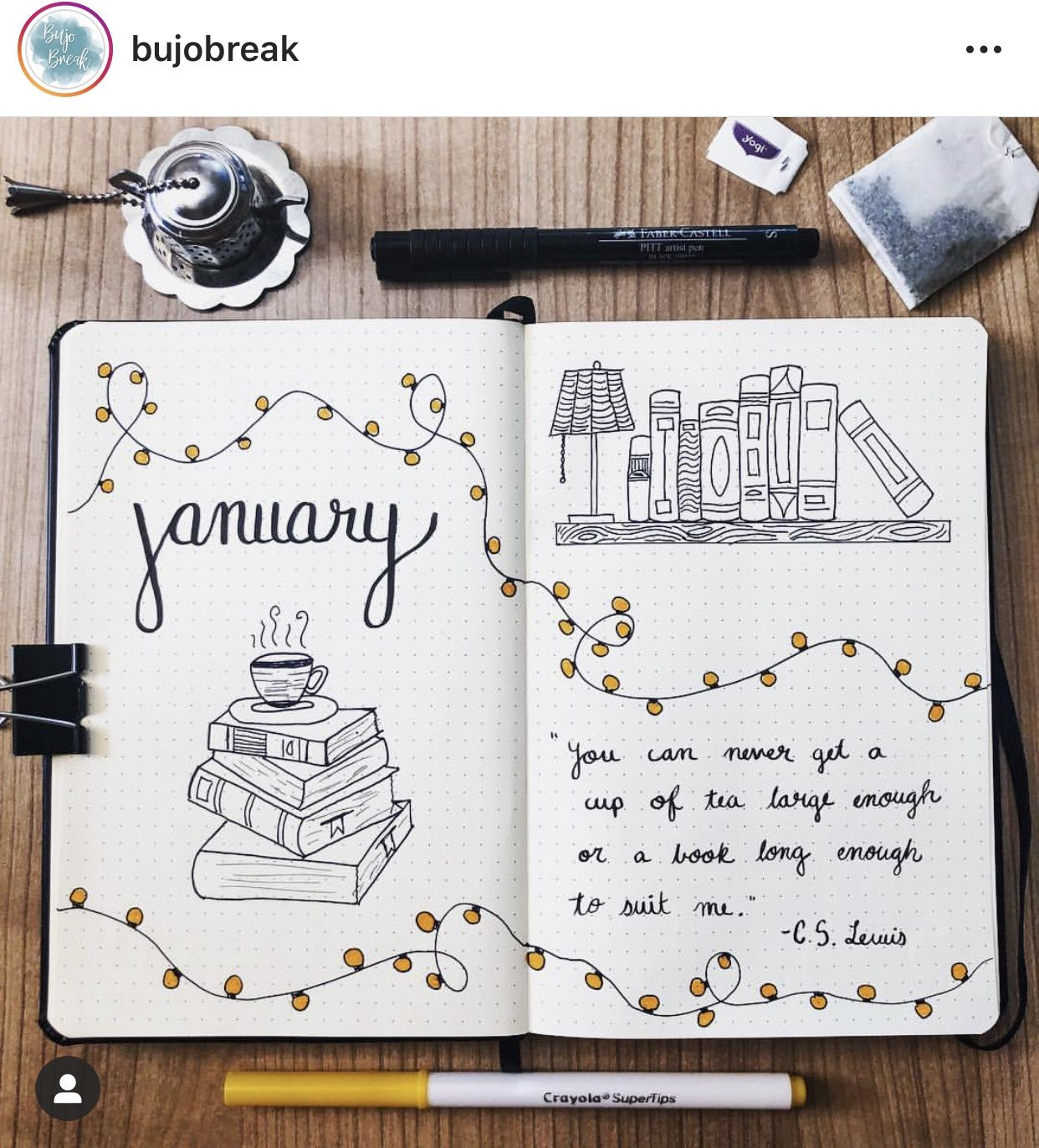 January Bullet Journal Theme for Book Lovers