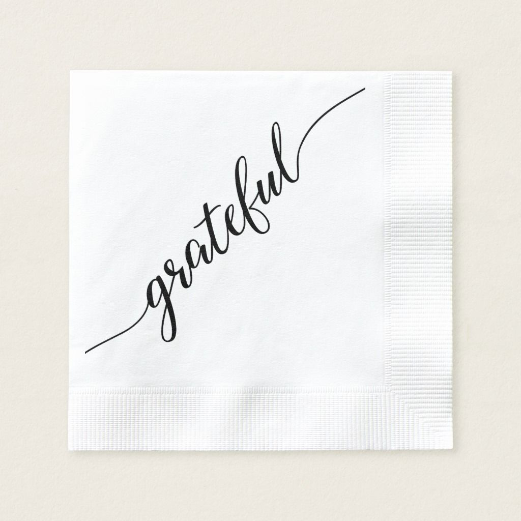 Grateful | Thanksgiving Script font with long tail Napkins | Zazzle.com