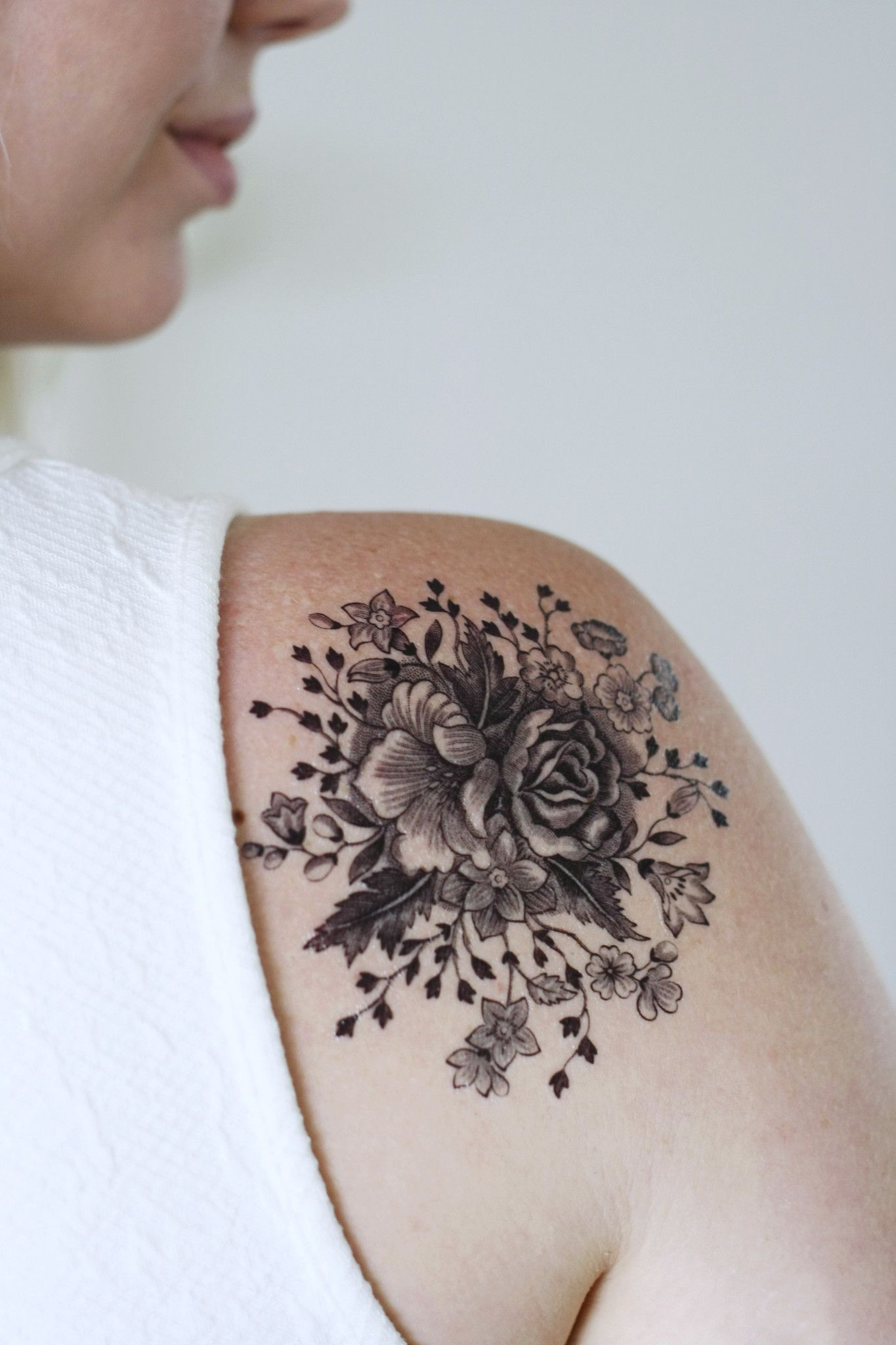 Large Vintage Black And White Floral Temporary Tattoo Pinterest