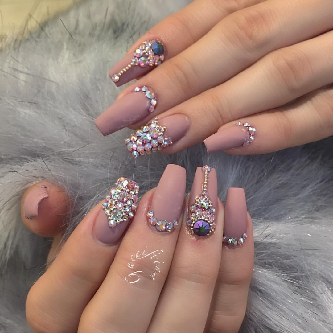 Crystal Gel Nail Video: Nude Matte With Swarovski Crystals Nail Art