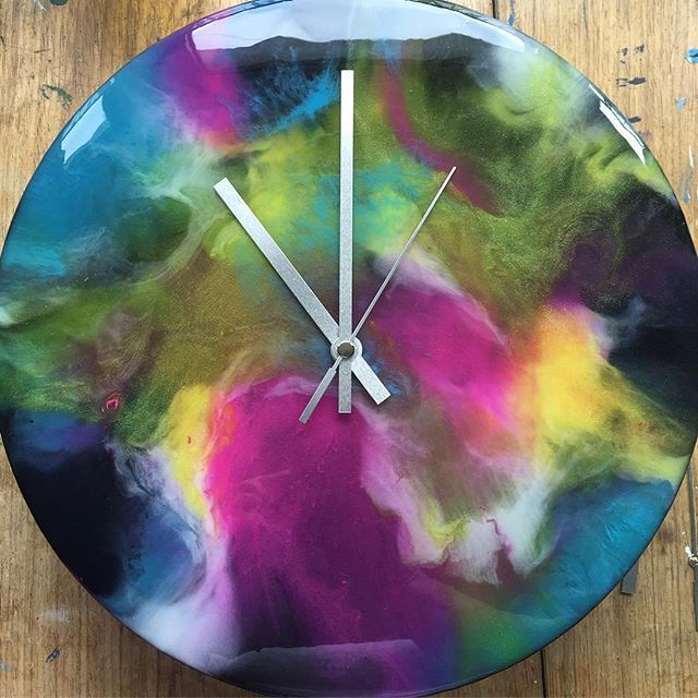 Resin over alcohol ink, clock    Acrylic Painting in 2019   Resin