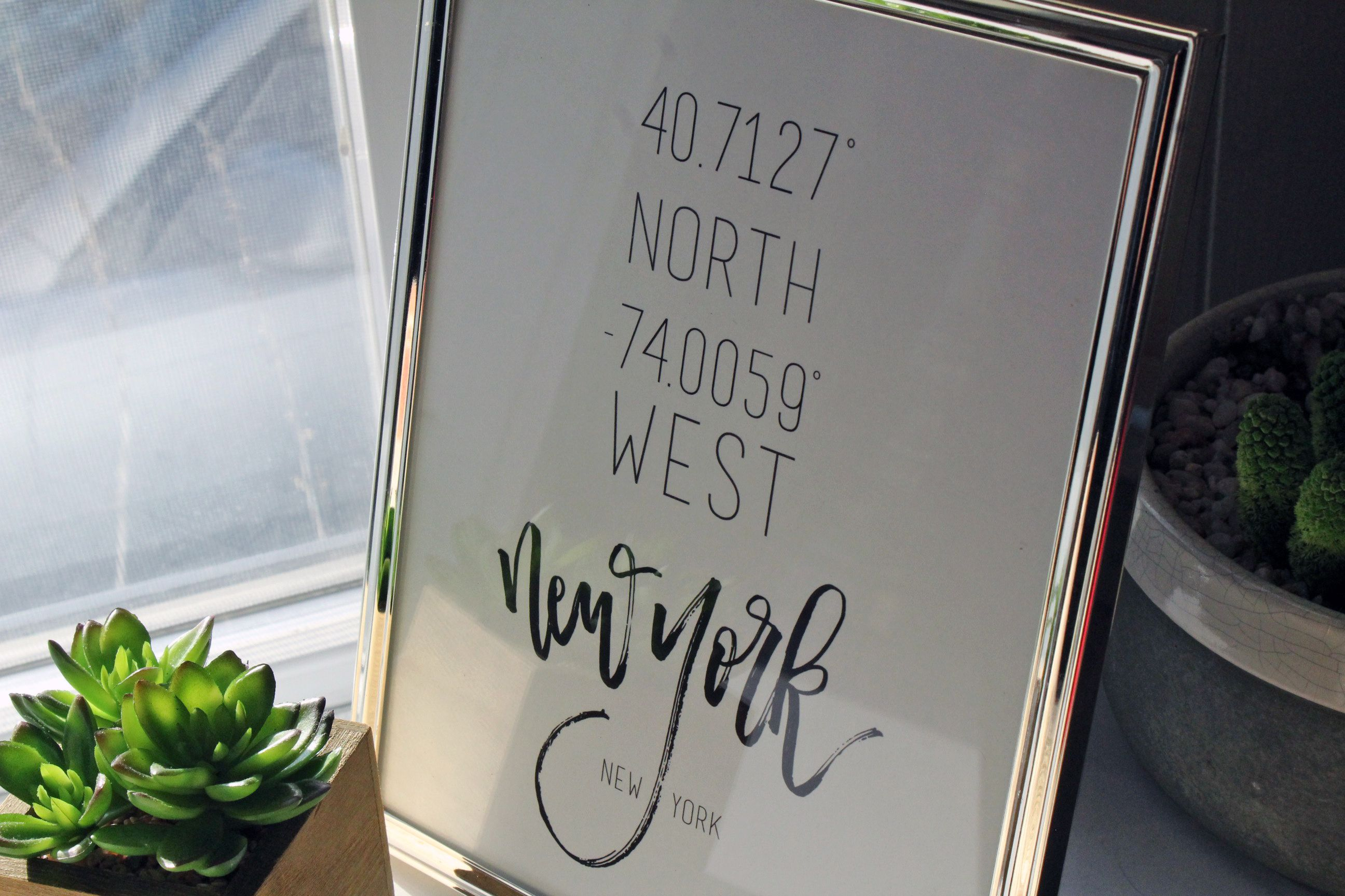 New York City Handlettered Coordinates