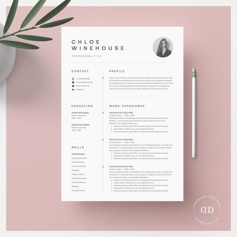 Resume Template Resume Template Word Resume With Picture Etsy Lebenslauf Anschreiben Vorlage Lebenslauf Anschreiben Lebenslauf Mit Bild