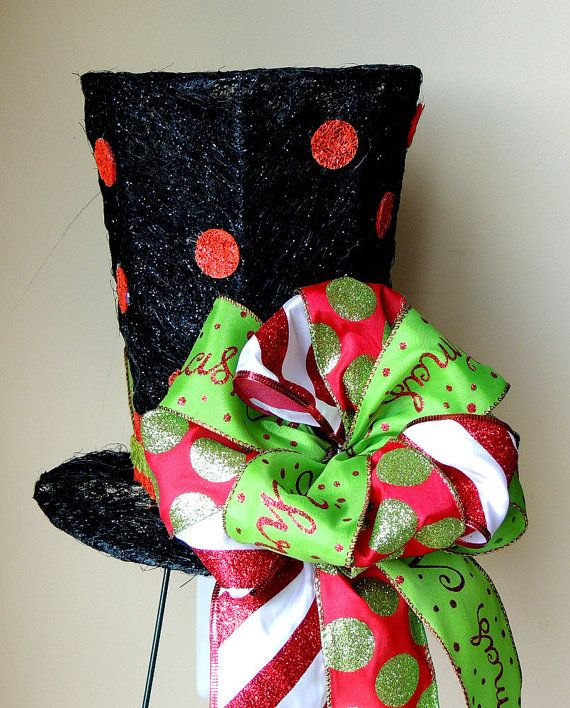 lighted christmas tree topper black top hat by sparklewithdesigns