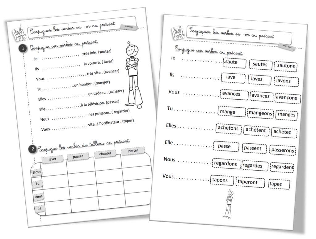 Le présent des verbes en -er : exercice de conjugaison ...