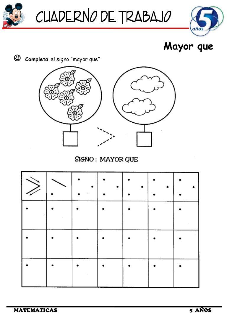 El Cuaderno De Trabajo Iii De Matemática De 5 Años Contiene Fichas De Mayoe Qué Conjuntos Menor Qué Ejercicios Mayor Menor Home Schooling Education School