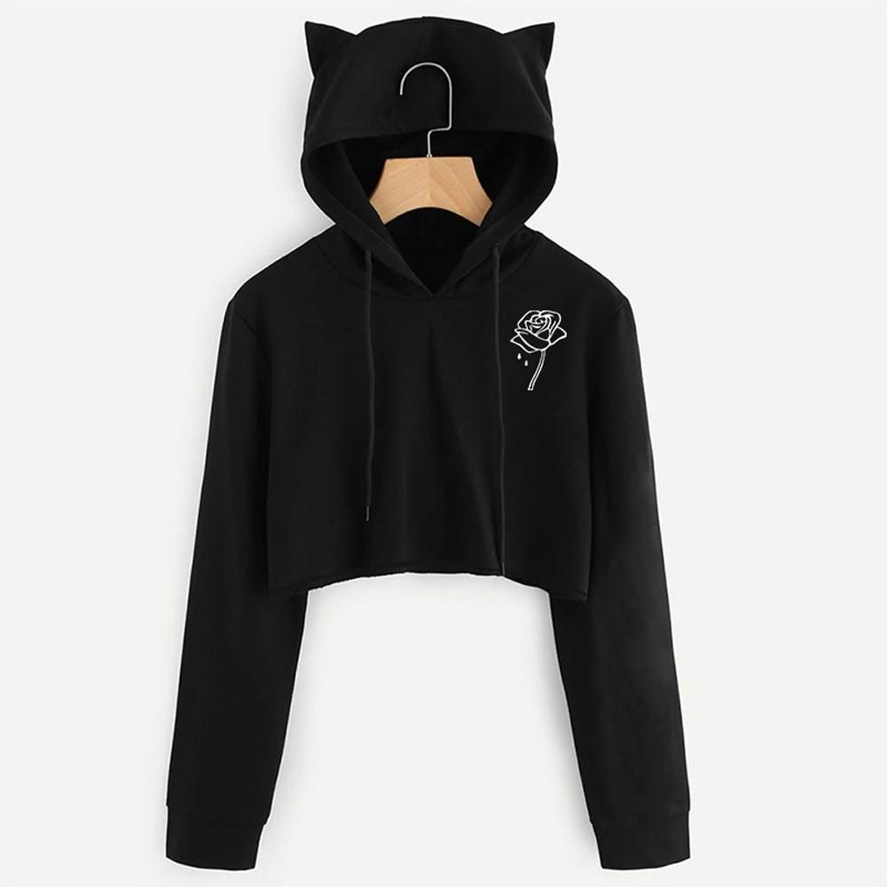 5acf3a7275c1d Women Sexy Casual Print Cat Ear Short Hoodies Blouse Top Pullover Sweatshirt