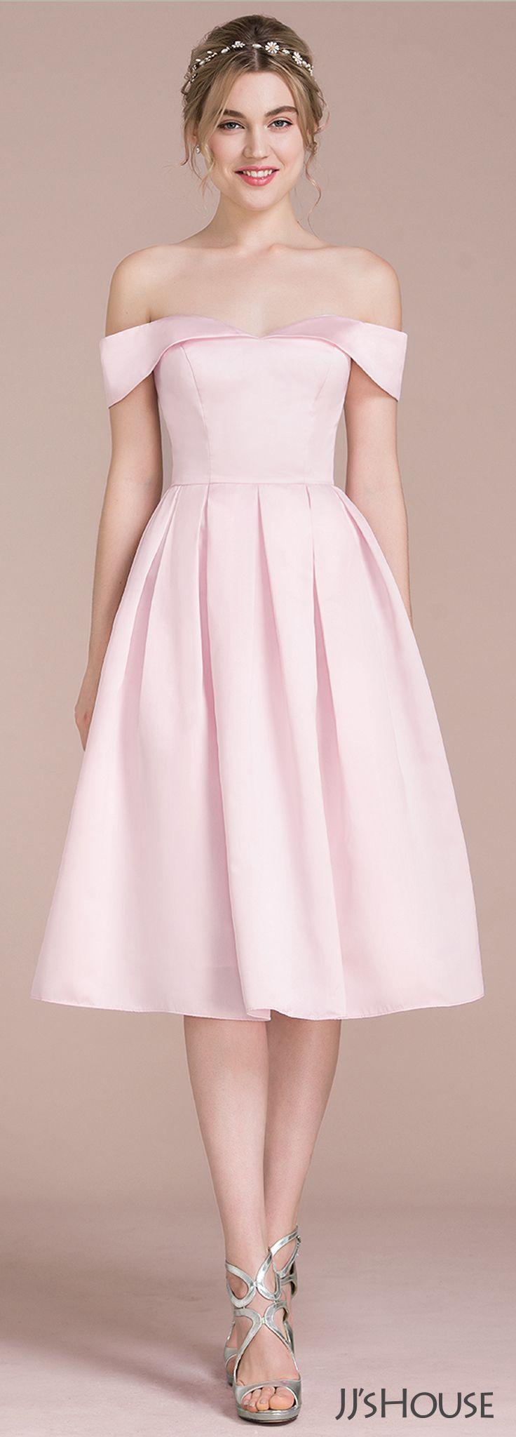 A-Line/Princess Off-the-Shoulder Knee-Length Satin Bridesmaid Dress ...