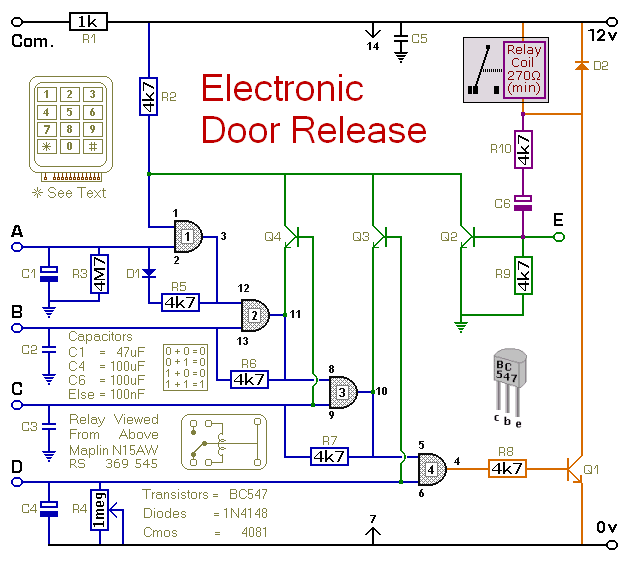 How To Build A Keypad Operated Door Lock Release Electronic Circuit Projects Electronic Schematics Electronics Projects