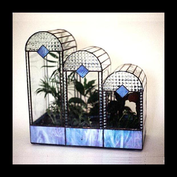 'Triple Arch' ~ Stained glass terrariums that are made in the Tiffany tradition, each designed and hand made by Ron Gladkowski. They are featured on The Terrarium Museum site.