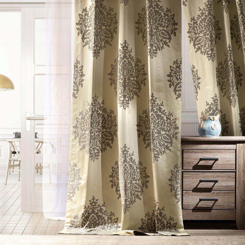 Ellaria Silver Ivory Designer Damask Curtain In 2020 Damask Curtains Curtains Damask