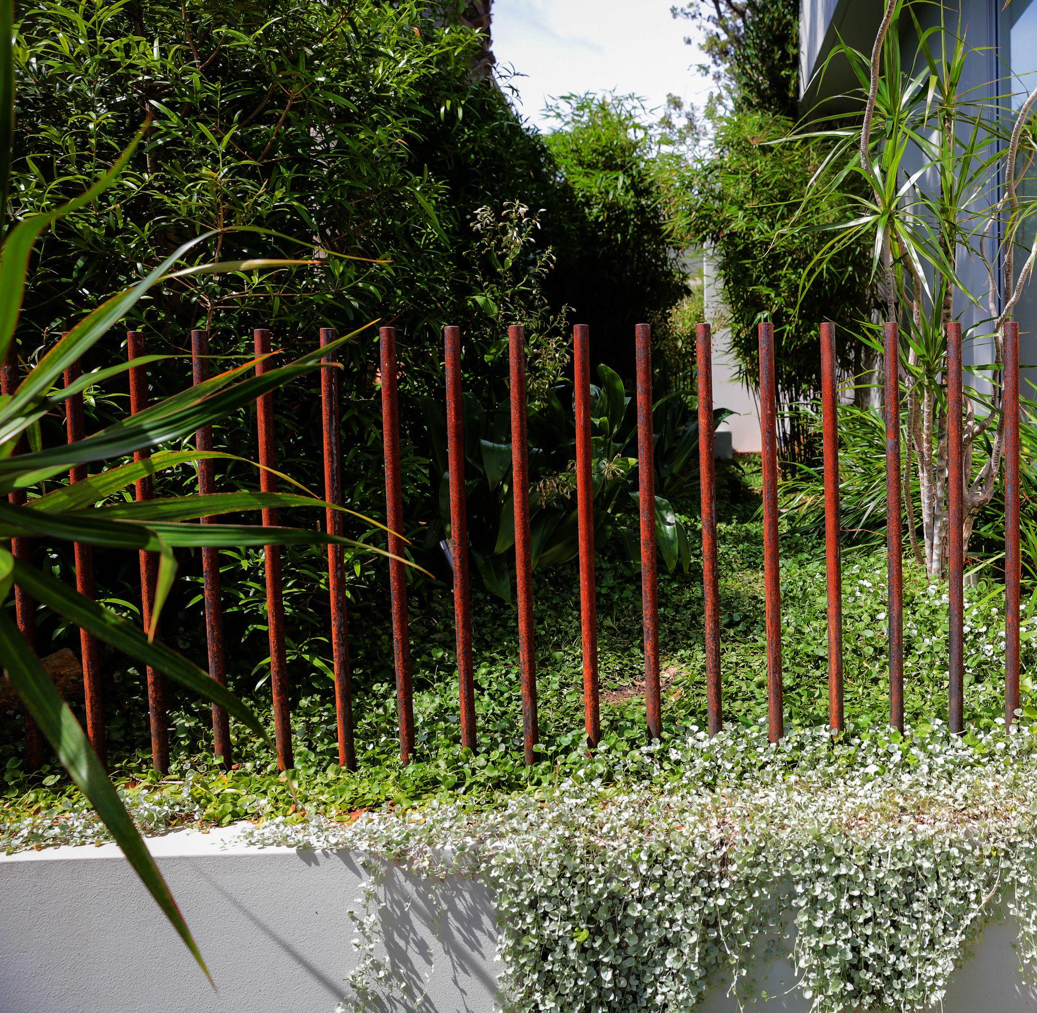 Mild Steel Rod Fence Detail Formed Gardens Fence Landscaping Modern Fence Backyard Fences