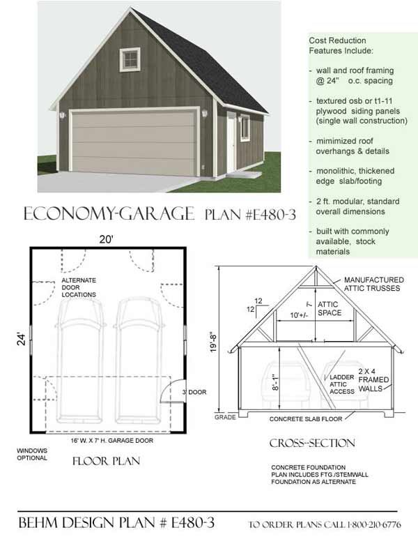 Economy 2 Car Garage With Attic Plan E480 3 By Behm Design