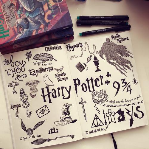 Harry potter collage bullet journal pinterest dessin - Comment dessiner harry potter ...