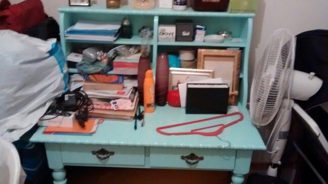 Forgot to include my messy vintage desk which I painted turquoise and whcih will definitely be moving with us