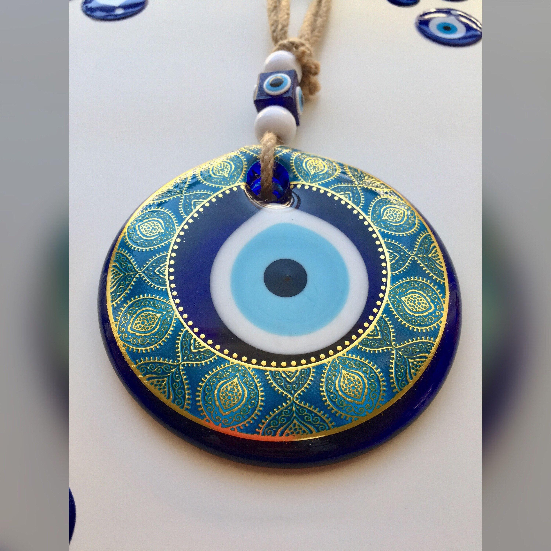 Large Evil Eye Wall Hanging, Golden Evil Eye, 11cm Glass