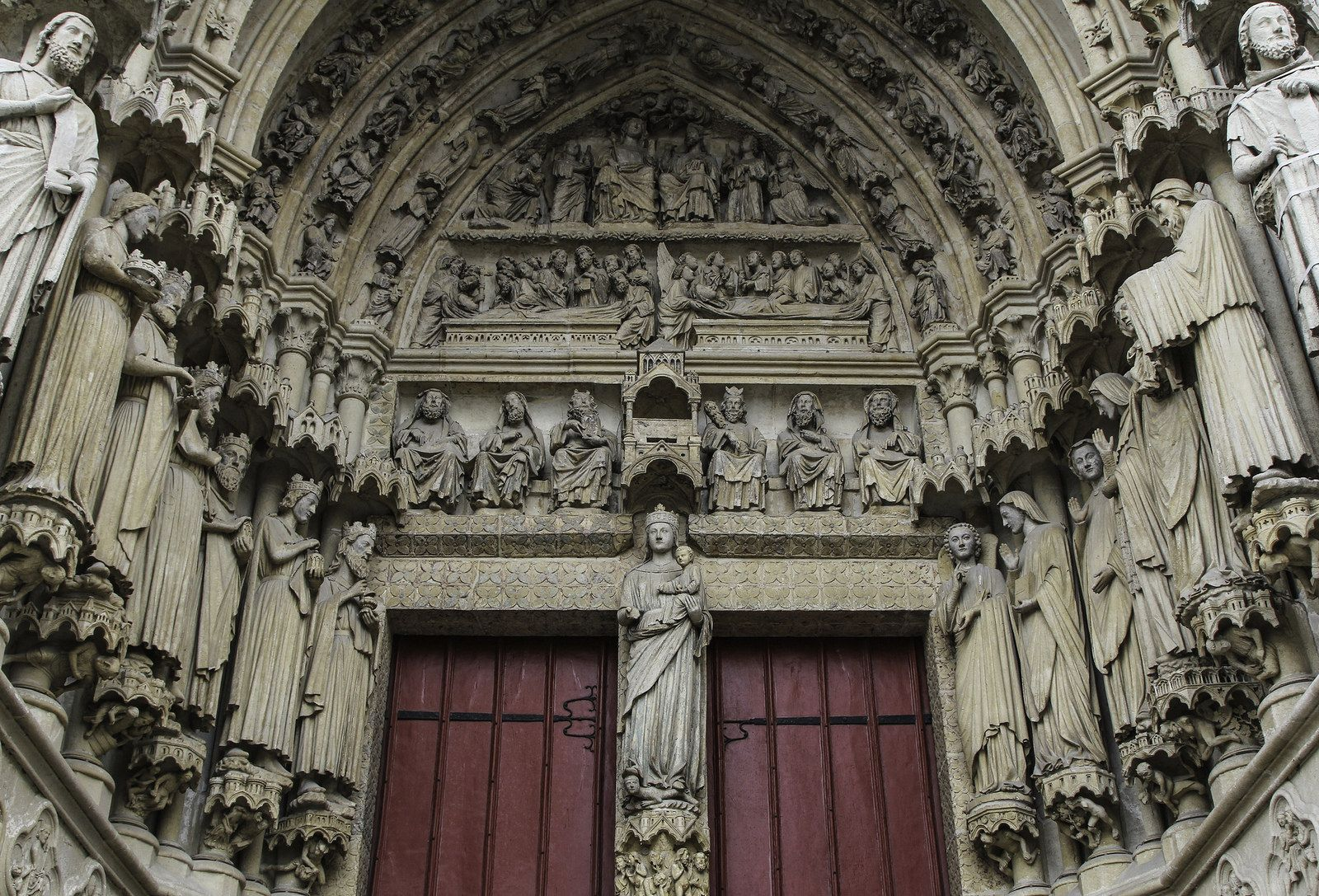 Queen of Heaven and Earth - This is the right-hand portal in the west facade of Amiens Cathedral, built c.1230-40. In the tympanum we see the dormition of Our Lady, her assumption, and her coronation as Queen. | da Lawrence OP
