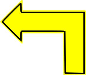 L Shaped Arrow Yellow Filled Left L Shape Sticker Sign Arrow