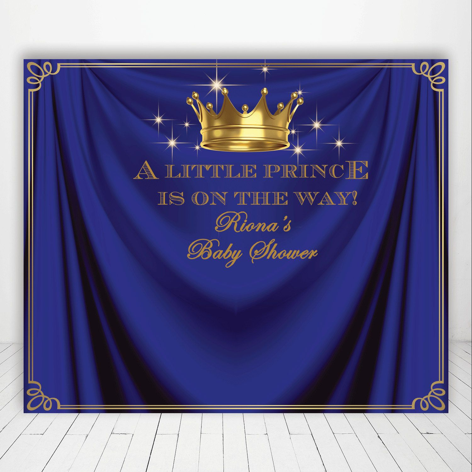 Gold And Royal Blue Prince, Crown, Baptism, Christening, Birthday, Baby
